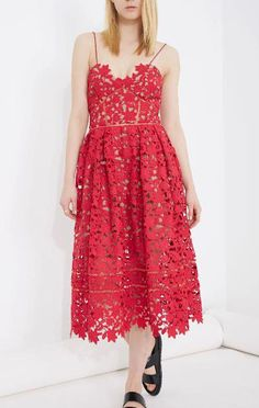 Red Spaghetti Strap Floral Crochet Hollow Dress - Sheinside.com