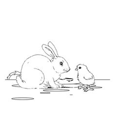 100 Plus Free Online Chicks and The Rabbit Colouring Page - Kids Activity Sheets: Easter Colouring Pages