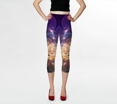 Wearable Art, custom made, exclusiv design, artful bright Capri leggings, shaping flattering, Fractal Blue purple design yoga pants tights by artdreamstudio. Explore more products on http://artdreamstudio.etsy.com
