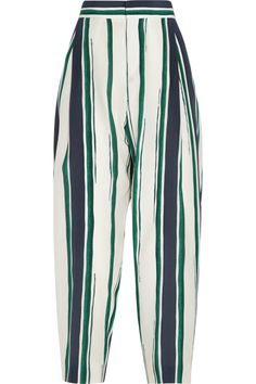 Chloé Cropped striped silk-crepe tapered pants NET-A-PORTER.COM