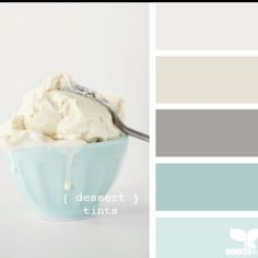 here is a great white, cream, grey and some blues that are perfect top = kitchen cabinets second = crown third = walls fourth = island fifth = laundry