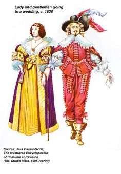 1630 Cavalier and Lady going to a wedding, from the Encyclopedia of Costume and Fashion, UK