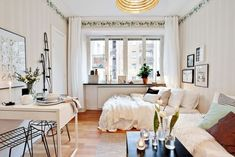 50 first apartment decorating for couples Apartment Decorating For Couples, Studio Apartment Decorating, Apartment Ideas, Apartment Design, Tiny Studio Apartments, Cool Apartments, Interior Design Living Room, Living Room Decor, Minimalist Studio Apartment