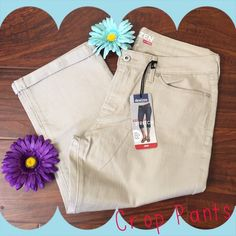 NWT crop pants Khaki color. 🎉 NWT 🎉 Folds at the bottom. Soft denim like material with some stretch. I love this brand of jeans and denim...very comfortable and flattering! Light taupe color. Any questions, please ask. 😁👍 Pants Ankle & Cropped
