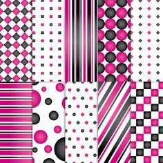 Scrapbook Paper . PRINTABLE . 8.5x11 . Shapes . Diva . Set of 10 ~ $2.00 ~ printable papers, printable paper, paper, scrapbook paper, scrapbooking paper, stripes, diamonds, squares, circles, bubbles, dots, checkers, polka dot paper, diva paper, chic paper, modern paper, pink paper, black paper, pink and black paper, sexy paper ~ #diva #divapaper #blackandpink #blackandpinkpaper #scrapbookpaper ~ https://www.etsy.com/listing/88420448