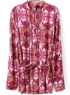 Stand Collar Floral Tie-Waist Red Blouse