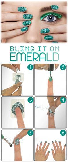 Beauty HOW TO: Bling It On Emerald courtesy of #NailsInc. #Sephora #SephoraNailspotting #NailArt