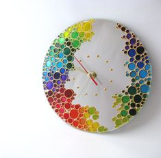 The Rainbow Bubbles Hand Painted Mirrow Wall Clock Stained glass painting wall clock with the colored bubbles. It can make unique gift for any occasion or be great a decoration in your house. Clock Painting, Clock Art, Diy Clock, Clock Ideas, Painting Mirrors, Mirror Wall Clock, Wall Clock Design, Round Wall Mirror, Mirror Bedroom