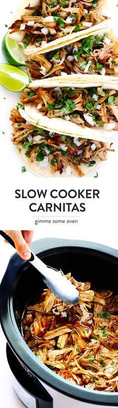 The BEST Slow Cooker Pork Carnitas recipe! Theyre easy to make in the crock pot made with my favorite Mexican seasonings and so crispy and delicious! Perfect for tacos enchiladas salads burritos quesadillas and more. Slow Cooker Carnitas, Pork Carnitas Recipe, Slow Cooker Pork, Slow Cooker Recipes, Crockpot Recipes, Cooking Recipes, Dinner Crockpot, Fajita Recipe, Cooking Ideas