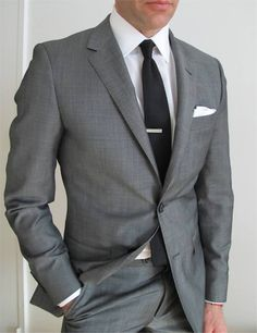 #GraySuit  When picking a suit, skip the black and go for the more elegant and versatile gray version. Pick one that has an exacting tailored shape.   #WardrobeMustHave #Fashion #Style #MensFashion