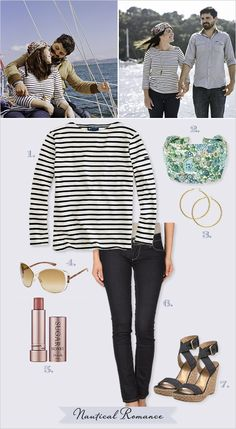 Engagement Outfit Ideas: nautical    Be warned: horizontal stripes can be hard to pull off!