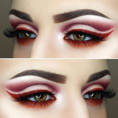 Red eye look with amazing cut crease.