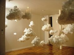 diy paper lantern clouds - I want to make these hang above my bed and paint my ceiling a sky blue