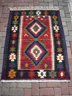 """Turkish Anatolian Kilim Rug Vegitable and Natural Color Wool on Wool  51,2 by 39,4"""" inches (130cm by 100cm)"""