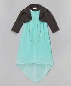Mint Chiffon Hi-Low Dress Set - Girls #zulily #zulilyfinds