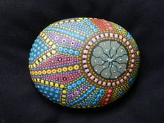 Peyote Button Hand Painted River Stone