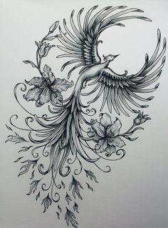 Phoenix original art example of jennifermckayhiggins - Tatoo. Phoenix Tattoo Feminine, Phoenix Bird Tattoos, Phoenix Tattoo Design, Feminine Arm Tattoos, Feminine Shoulder Tattoos, Tattoo Shoulder, Image Phoenix, Phenix Tattoo, Illustration Tattoo