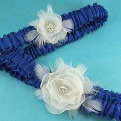 Royal+Blue+Ivory+Organza+Feather+Rose+Wedding+by+HARTfeltart,+$39.99