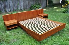 queen teak bed frame integrated with floating square nightstands. Powerful Teak Bed Frame Give You The Long Lasting Night Woodworking Equipment, Woodworking Plans, Woodworking Projects, Woodworking Shop, Woodworking Videos, Youtube Woodworking, Woodworking Basics, Workbench Plans, Woodworking Patterns