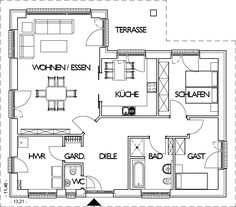 Winkelbungalow Grundriss Erdgeschoss mit über 110 m² Wohnfläche