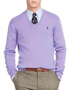 Polo Ralph Lauren Pima Cotton V-Neck Sweater Men's Purple Large