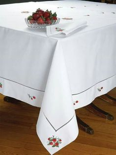Strawberry Fields - Luxury Table Cloths - So inviting, our crisp White Italian linen tablecloths and napkins are sure to set the most appetizing table imaginable. Crochet Tablecloth, Linen Tablecloth, Table Linens, Tablecloths, Dining Table Cloth, Lace Beadwork, Thanksgiving Table Settings, Holiday Tables, Christmas Table Cloth