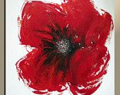Original Modern Red Poppy Flower Abstract Palette Knife Acrylic Painting on Canvas