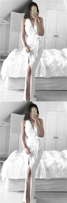 Sheath Long White V-neck Sleeveless Prom Dresses #promdresses #promdress #promgowns #dresses #gowns #prom #eveningdresses #partydresses #womendresses #fashiondresses #beading #long #elegant #modest #fashion #charming #formal #classy #beautiful #simple #cheap #promdresses2018 #forteens #white #sheath #vintage #love #gifts