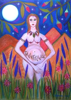 Gaia birthing: Shamana  Chalk on canvas paper  $450
