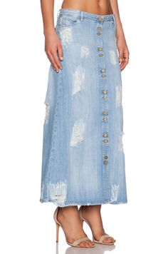 Shop for Acquaverde Hayley Maxi Skirt in Light Used Destroy at REVOLVE. Modest Skirts, Maxi Skirts, Denim Skirts, Revolve Clothing, Tie Dye Skirt, Happy Shopping, Sportswear, High Waisted Skirt, My Style