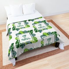 Keep it #tropical No.1 in GREEN Comforter - Designed byDidi Kasa Green Comforter, College Dorm Rooms, Square Quilt, Sell Your Art, Quilt Patterns, Comforters, I Shop, Tropical, Blanket