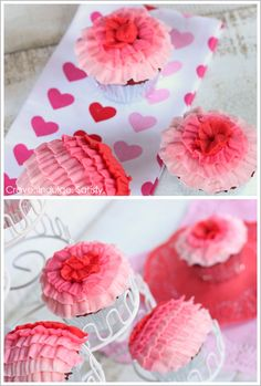 How-to Ombre Ruffle Cupcakes [uses four #104 petal tips]: Red Velvet with White Chocolate recipe too