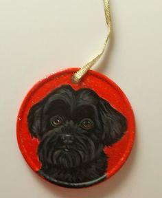 Black Shih Tzu Dog Custom Painted Christmas by daniellesoriginals, $19.95