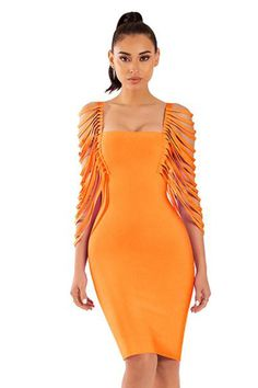 b5b7d437beef Orange Dress with Straps Details Sleeves