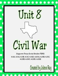 Supports 4th grade Texas History TEKS:  4.4A, 4.11A, 4.11B, 4.11C, 4.16D, 4.20A, 4.21B, 4.21C, 4.22B, 4.22C, 4.22D, 4.22E This is a great resource to use when covering the TEKS listed above regarding the Civil War. This product contains: 3 graphic organizers and word studies (with answer keys) for the following:The Civil WarReconstructionFree EnterpriseMap coloring activity that will build upon student's map skills and at the same time teach about the location of Union States, Confederate…