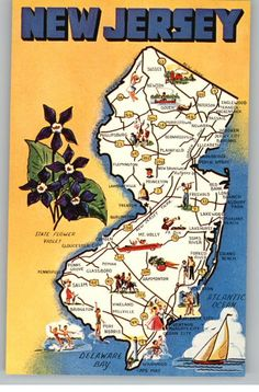 new jersey postcard | Postcard..Greetings From New Jersey..Illustrated Map