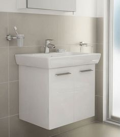 Additional image of VitrA S20 High Gloss White Finished 65cm Vanity Unit And Basin