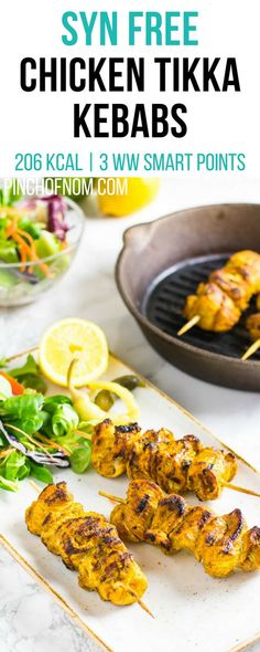 Syn Free Chicken Tikka Kebabs | Pinch Of Nom Slimming World Recipes   206 kcal | Syn Free | 3 Weight Watchers Smart Points