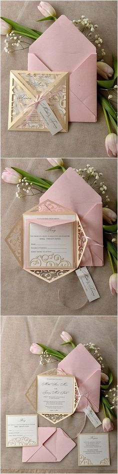 Vintage Patel Pink Blush Gold Laser Cut Wedding Invitation   Deer Pearl  Flowers Rose Gold And Champagne Themed Wedding.