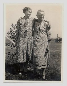 Old Photo 2 Women wearing flour sack Fabric Dresses.....My grandma used to make clothes out of flour sacks.
