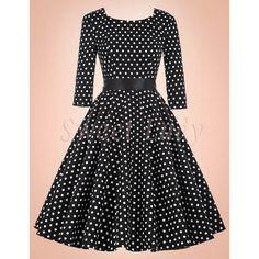 Krásne bodkované čierne vintage šaty