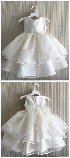 15e6527d4c7 Pure Satin Jewel Neckline Knee-length Ball Gown Flower Girl Dresses FD037.  BohoProm