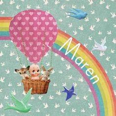 Geboortekaartje Maren - lieve beestjes en een babietje samen in een luchtballon - www.petitkonijn.nl