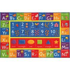 USTIDE 5x7 Rainbow Alphabet Educational Kids Rug on Blue Letters Learning Rug Playtime Classroom Rug