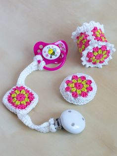 Crochet Granny Square Pacifier Chain- a free pattern | MyCrochetProjects