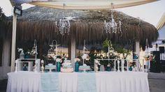Wedding beach, wedding cake.
