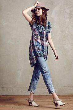 Mixed Plaid Tunic #anthropologie #anthrofave