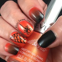 """Happy October!! Revlon Top Speed """"Charmed"""", China Glaze Lubu Heels, and Liquid Leather sponged nails. My little spider buddy and his web are acrylic craft paint. He is inspired by @missladyfinger.  Topped off with #HKGirl #GlistenandGlow ❤️. #halloweennails #spidernailart  #diynails #nailart #polishaddict  #naturalnails #fallnailart #fallnails"""