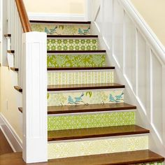 Putting some designs on your stairs is an awesome unique way to bring some flair inside!