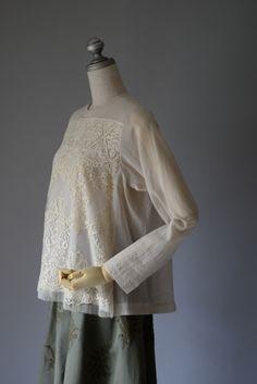 M71301 リバーレース シフォンブラウス  #miyaco #lace #fashion #レース #ブラウス